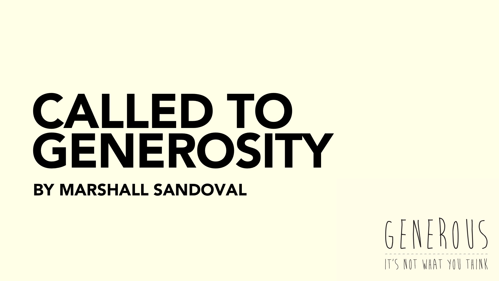 Called to Generosity by Marshall Sandoval